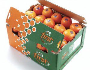 A box of First Fresh NZ oranges